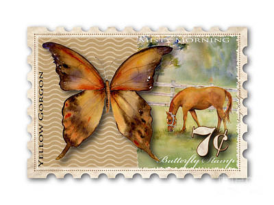 Painting - 7 Cent Butterfly Stamp by Amy Kirkpatrick