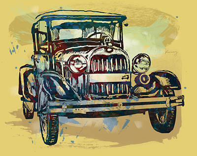 Abstract Pop Drawing - Classical Car Stylized Pop Art Poster by Kim Wang