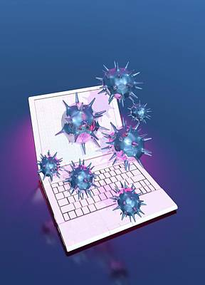 Computer Virus Art Print by Victor Habbick Visions/science Photo Library