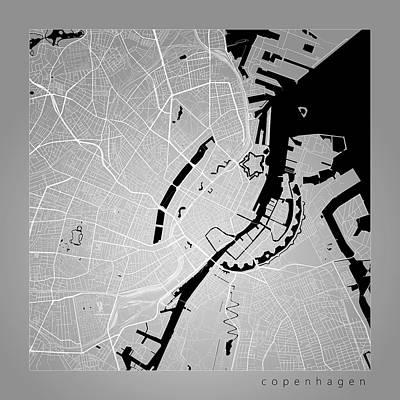 Copenhagen Street Map - Copenhagen Denmark Road Map Art On Color Art Print