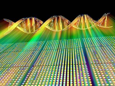 Double Helix Photograph - Dna Microarray And Double Helix by Pasieka