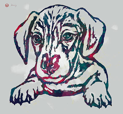 Dog Abstracts Mixed Media - Dog Stylised Pop Modern Etching Art Portrait by Kim Wang