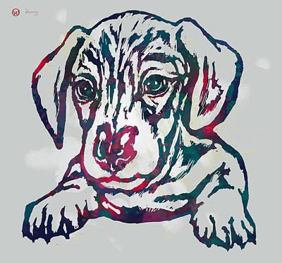 Dog Pop Art Drawing - Dog Stylised Pop Modern Etching Art Portrait by Kim Wang
