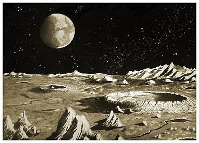 Earthrise Over The Moon Art Print