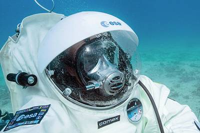 Under The Ocean Photograph - Esa Underwater Astronaut Training by Alexis Rosenfeld