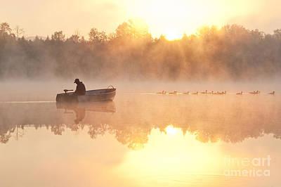 Fisherman In Boat, Lake Cassidy Art Print