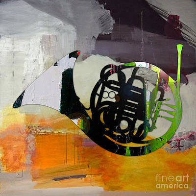 Musical Instruments Mixed Media - French Horn by Marvin Blaine