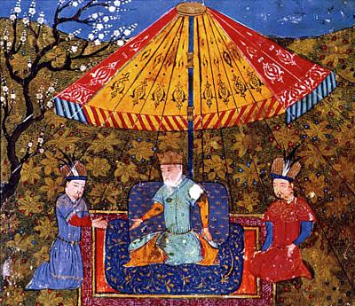 Persian Miniature Painting - Genghis Khan (1162-1227) by Granger
