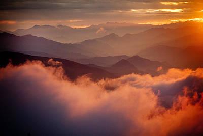 Golden Sunset Himalayas Mountain Nepal Art Print by Raimond Klavins