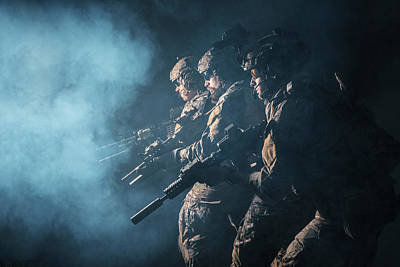 Photograph - Group Of Security Forces In Combat by Oleg Zabielin
