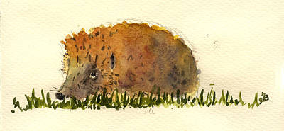 Rodent Wall Art - Painting - Hedgehog by Juan  Bosco