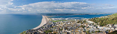 Chesil Beach Photograph - High Angle View Of A City by Panoramic Images
