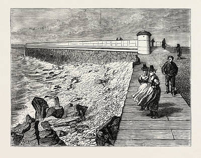 Inauguration Drawing - Inauguration Of The Holyhead Breakwater And Harbour by Welsh School