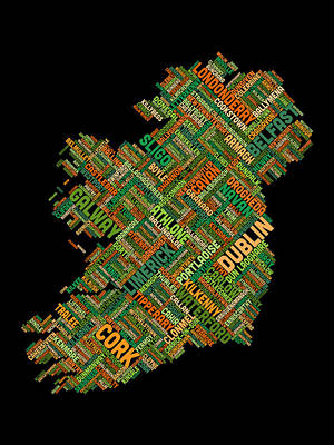 Typographic Digital Art - Ireland Eire City Text Map by Michael Tompsett