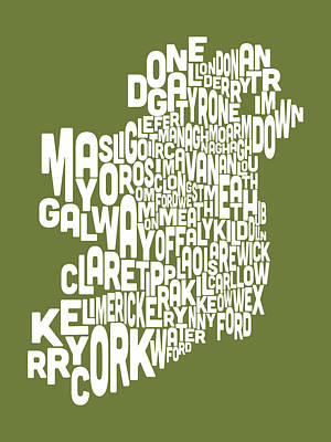 Ireland Eire County Text Map Art Print by Michael Tompsett