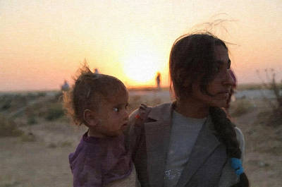 Little Boy Mixed Media - Kurdish Refugees by MotionAge Designs