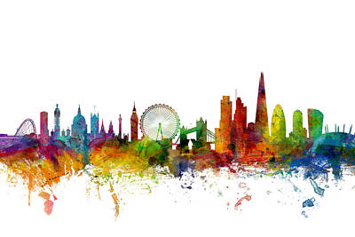 Watercolor Digital Art - London England Skyline by Michael Tompsett