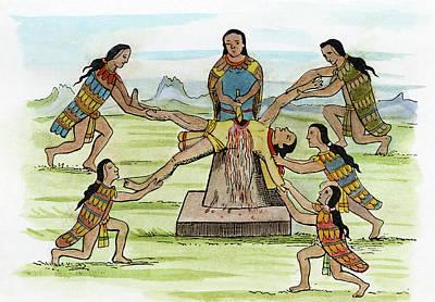Loincloth Painting - Mexico Aztec Sacrifice by Granger