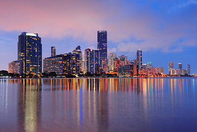 Photograph - Miami Night Scene by Songquan Deng