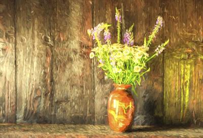 Monet Style Digital Painting Retro Style Still Life Of Dried Flowers In Vase Against Worn Woo Art Print by Matthew Gibson