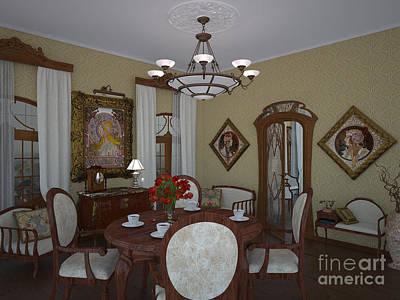Art Nouveau Style Mixed Media - My Art In The Interior Decoration - Elena Yakubovich by Elena Yakubovich