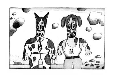 Dog In Landscape Drawing - New Yorker February 23rd, 1976 by Saul Steinberg
