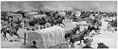 Oklahoma Drawing - Oklahoma Land Rush, 1893 by Granger