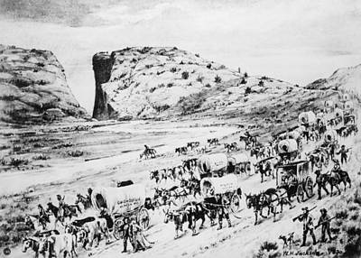 Oregon Drawing - Oregon Trail Emigrants by Granger