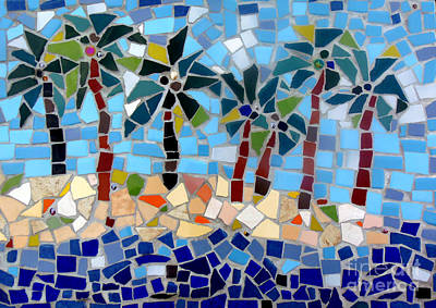 7 Palm Trees Mosaic Art Print