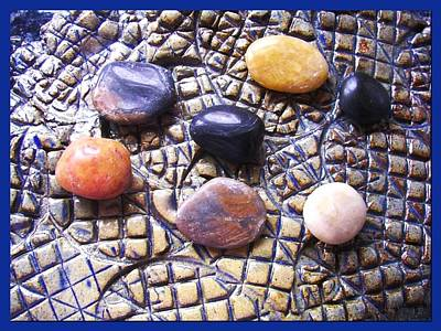 Ceramic Art - 7 Pebbles Abstract  by Joan-Violet Stretch