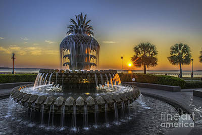 Photograph - Pineapple Fountain At Sunrise by Dale Powell