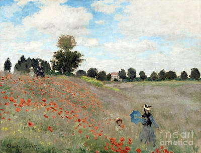 Poppies Field Painting - Poppy Field by Claude Monet