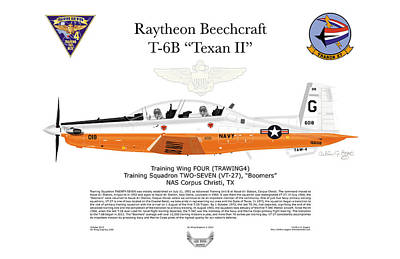Raytheon Beechcraft T-6b Texan II Art Print by Arthur Eggers