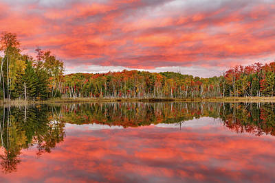 Alger Photograph - Red Jack Lake And Sunrise Reflection by Adam Jones