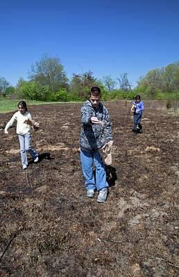 Schoolchildren Sowing Seeds Art Print by Jim West