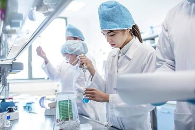 Scientists Working In Lab Art Print by Science Photo Library
