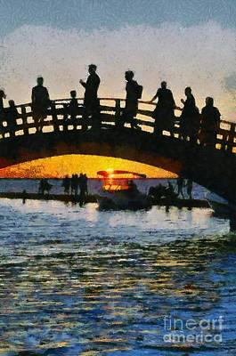 Bridge Painting - Sunset In Lefkada Town by George Atsametakis