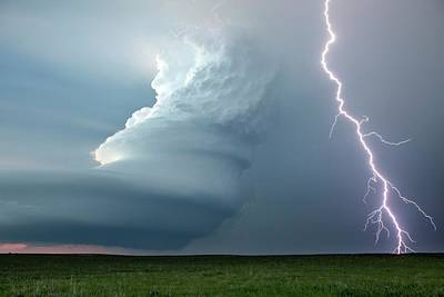 Lightning Bolt Photograph - Supercell Thunderstorm by Roger Hill