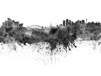 Oceania Painting - Sydney Skyline In Watercolor On White Background by Pablo Romero