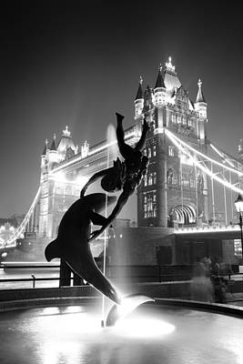 Tower Bridge And Statue Art Print