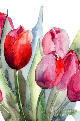 Spring Branch Painting - Tulips Flowers by Regina Jershova