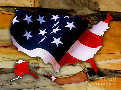 United States Mixed Media - United States Map by Marvin Blaine