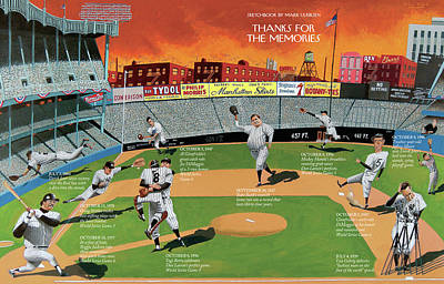 Yankee Stadium Digital Art - New Yorker September 22nd, 2008 by Mark Ulriksen