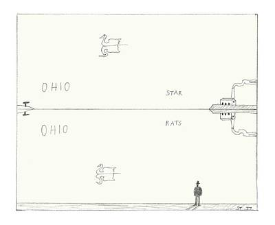 Water Reflections Drawing - New Yorker January 10th, 2005 by Saul Steinberg