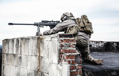 Photograph - U.s. Army Sniper During A Military by Oleg Zabielin