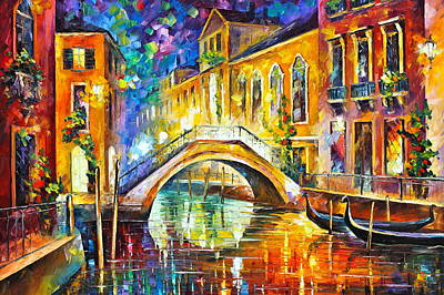 Old Boat Painting - Venice by Leonid Afremov