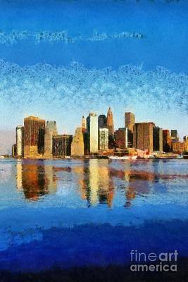Painting - View Of Manhattan From Brooklyn Heights During Sunrise by George Atsametakis