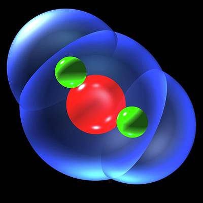 Atom Photograph - Water Molecule by Russell Kightley