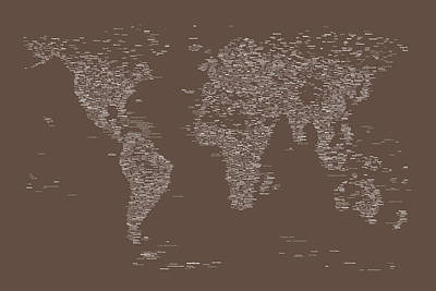 World Text Map Digital Art - World Map Of Cities by Michael Tompsett