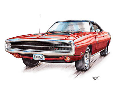 Chargers Drawing - 70 Dodge Charger Rt by Shannon Watts